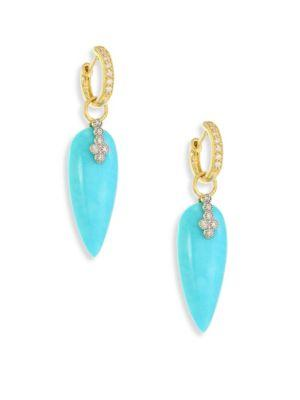 Jude Frances Provence Champagne Diamond & Turquoise Teardrop Earring Charms In Gold-Turquoise