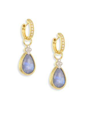 Jude Frances Provence Diamond & Sapphire Rainbow Moonstone Doublet Pear Earring Charms In Gold-Sapphire