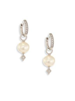 Jude Frances Large Lissa Diamond & 8Mm White Pearl Earring Charms In White Gold