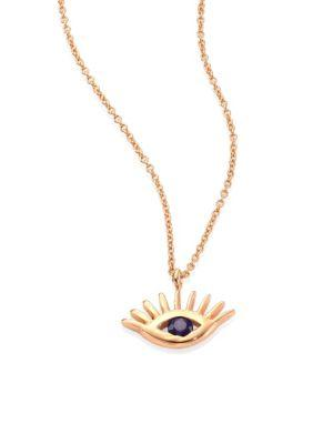 Kismet By Milka Protect Me Evil Eye Blue Sapphire & 14K Rose Gold Pendant Necklace