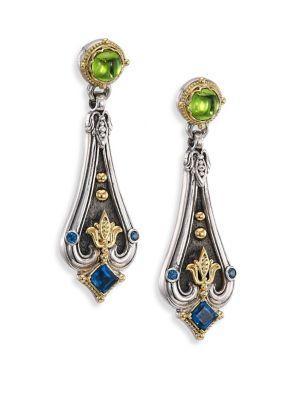 Konstantino Nemesis Peridot & London Blue Topaz Drop Earrings In Multi