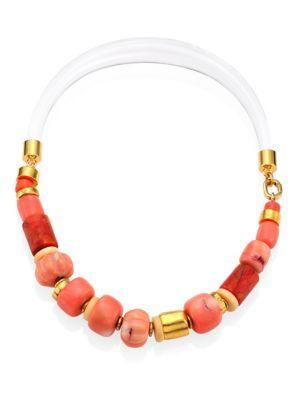Lizzie Fortunato Carved Coral Collar Necklace