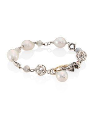 John Hardy Legends Naga 10Mm White Baroque Pearl & White Moonstone Station Bracelet In Silver-White
