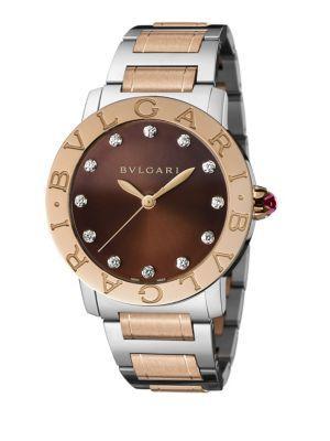 Bvlgari Rose Gold, Stainless Steel & Diamond Bracelet Watch