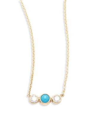 ZoË Chicco Diamond, Turquoise & 14K Yellow Gold Pendant Necklace In Gold-Turquoise