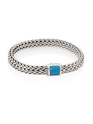 John Hardy Classic Chain Medium Turquoise & Sterling Silver Bracelet In Silver-Turquoise