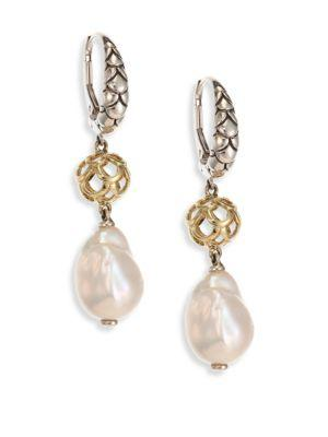 John Hardy Legends Naga 11Mm White Baroque Pearl, Sterling Silver & 18K Yellow Gold Drop Earrings In Silver-Multi