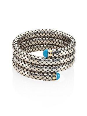 John Hardy Dot Turquoise, 18K Yellow Gold & Sterling Silver Triple Coil Bracelet In Silver-Blue
