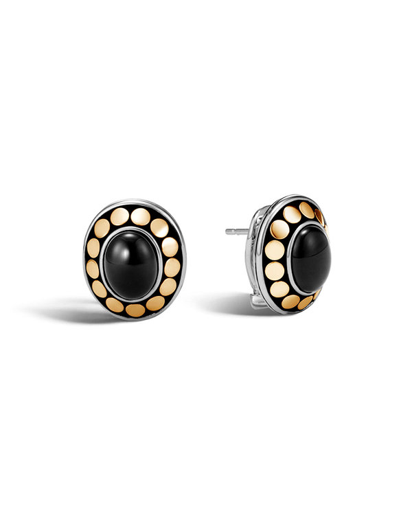 John Hardy Sterling Silver And 18K Bonded Gold Dot Earrings With Black Onyx - 100% Exclusive