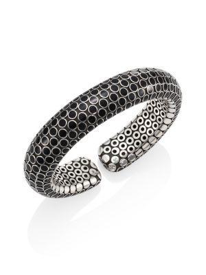 John Hardy Dot Small Sterling Silver Flex Cuff In Black