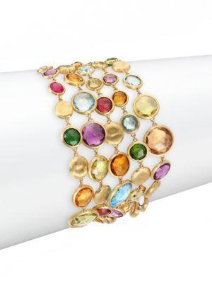 Marco Bicego Jaipur Semi-Precious Multi-Stone & 18K Yellow Gold Five-Strand Bracelet In Gold-Multi