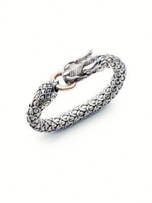 John Hardy Sterling Silver & 18K Yellow Gold Bracelet In Silver-Gold