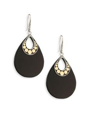 John Hardy Dot Black Onyx & 18K Yellow Gold Drop Earrings
