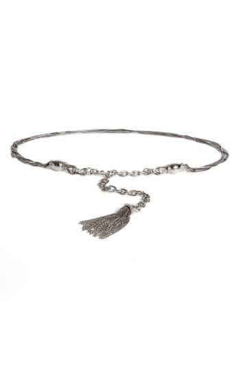 St. John Hamm Swarovski Crystal Chain Tassel Belt In Ruthenium/ Crystal Silver