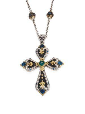 Konstantino Nemesis London Blue Topaz & Green Agate Cross Pendant In Silver