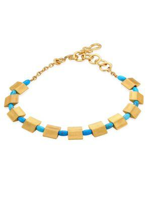 Stephanie Kantis Sequence Turquoise Howlite Collar Necklace In Gold-Turquoise