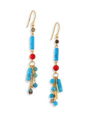 Stephanie Kantis Semi-Precious Multi-Stone Drop Earrings In Gold-Turquoise