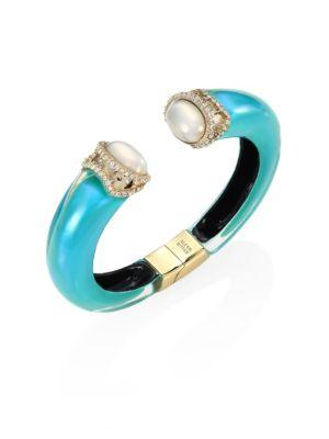 Alexis Bittar Medium Open Lucite & Faux Pearl Cuff In Turquoise