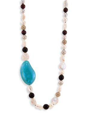 "Alexis Bittar Opalescent Lucite Liquid Silk Strand Necklace/42"" In Turquoise-Multi"
