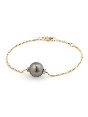 David Yurman Solari Single Station Bracelet In 18K Gold With Diamonds And Tahitian Grey Pearl In Gold-Pearl