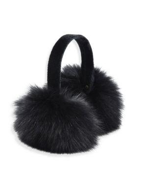 Surell Fox Fur Earmuffs In Silver