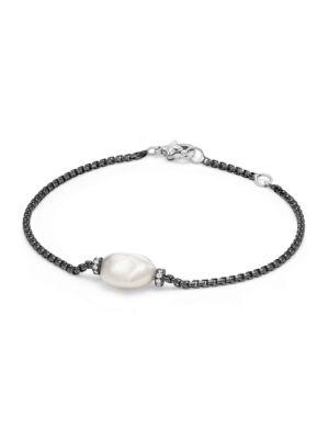 David Yurman Solari Pearl Single Station Bracelet With Diamonds And Pearl In Darkened Silver