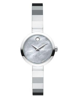 Movado Novella Grey Mother-Of-Pearl & Stainless Steel Bracelet Watch In Silver
