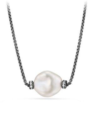 David Yurman Solari Station Necklace With Diamonds And Pearls In Darkened Silver