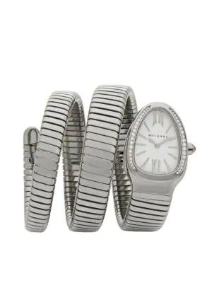Bvlgari Serpenti Tubogas Stainless Steel & Diamond Double Twist Watch In Silver