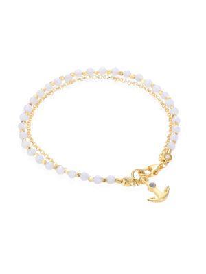 Astley Clarke Biography Blue Lace Agate, Lapis & White Sapphire Anchor Bracelet In Light Blue