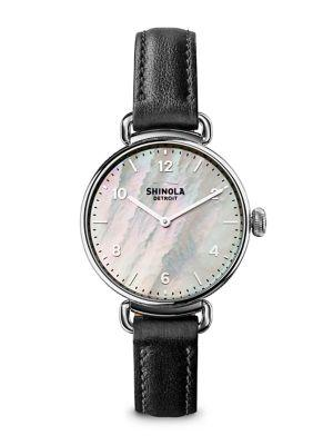 Shinola The Canfield Mother-Of-Pearl, Stainless Steel & Leather Strap Watch In Black