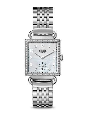 Shinola The Cass Diamond, Mother-Of-Pearl & Stainless Steel Bracelet Watch In Silver