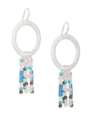 Stephanie Kantis Turquoise & Smoky Topaz Circle Earrings In Silver