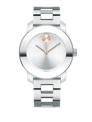 Movado Bold Reflective Stainless Steel Bracelet Watch In Silver/ Rose Gold