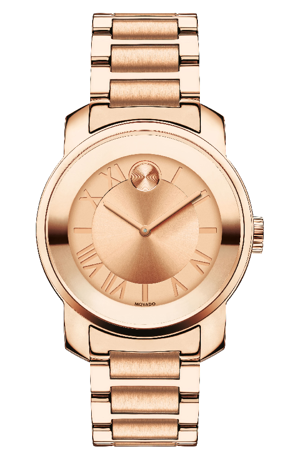 Movado Bold Analog Stainless Steel Bracelet Watch In Rose Gold