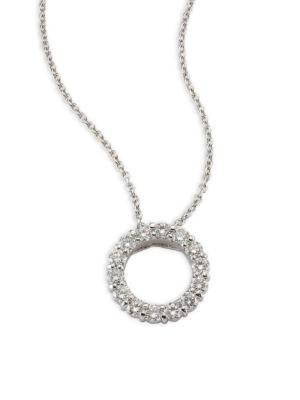 Roberto Coin Small Circle Diamond & 18K White Gold Pendant Necklace