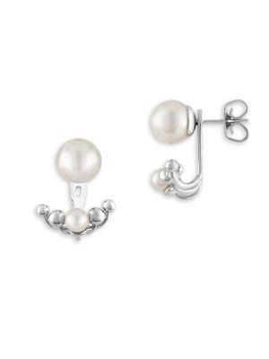 Majorica Sterling Silver Imitation Pearl Ear Jacket Earrings In White