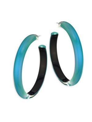 "Alexis Bittar Large Lucite Hoop Earrings/2"" In Turquoise"