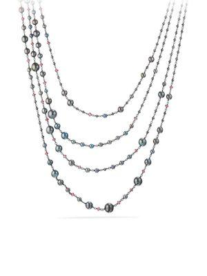 David Yurman Oceanica Pearl And Bead Link Necklace With Grey Pearls And Hematine In Silver