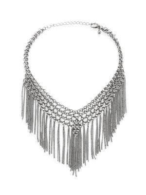 Jules Smith Barb Chain Fringe Choker In Silver