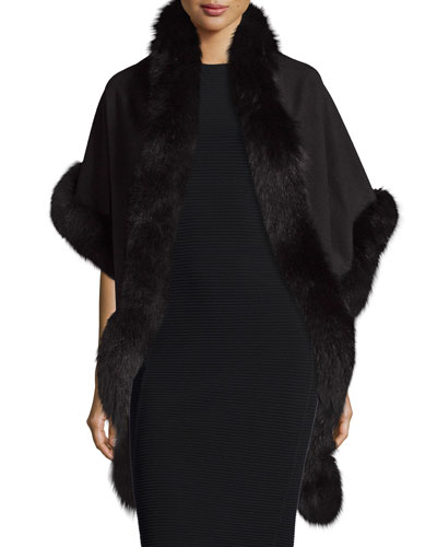 Sofia Cashmere Cashmere Fox-Trim Shawl, Black