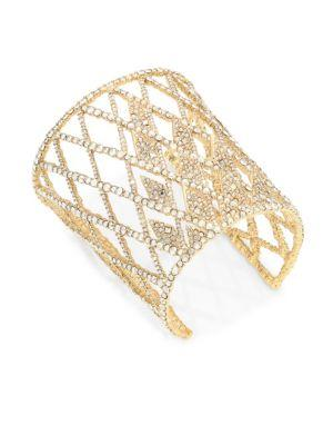 Alexis Bittar Elements Crystal Lattice Cuff In Yellow Gold