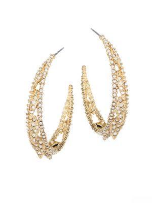 "Alexis Bittar Elements Crystal Hoop Earrings/1.5"" In Yellow Gold"