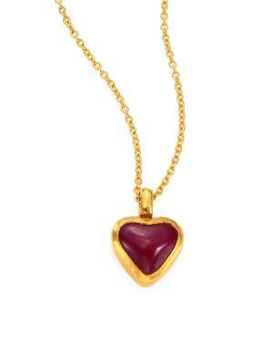 Gurhan Amulet Hue Ruby Heart & 18-24K Yellow Gold Pendant Necklace In Gold-Ruby