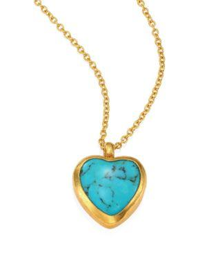 Gurhan Amulet Hue Turquoise Heart & 18-24K Yellow Gold Pendant Necklace In Gold Turquoise