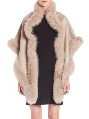 Sofia Cashmere Fox Fur-Trimmed Cashmere Wrap In Taupe