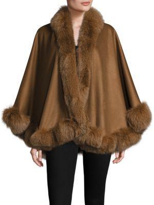Sofia Cashmere Petite Fox Fur & Cashmere Cape In Spice