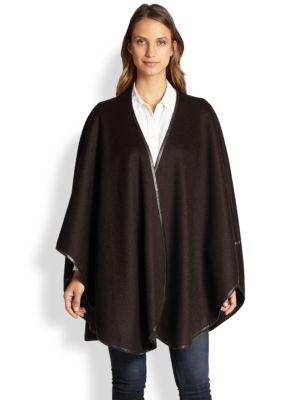 Sofia Cashmere Reversible Leather Trim Cape In Dark Brown