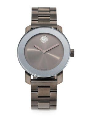 Movado Bold Grey Ip Stainless Steel Bracelet Watch In Grey Silver