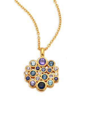 Gurhan Pointelle Diamond, Multi-Stone & 24K Yellow Gold Pendant Necklace In Gold-Multi
